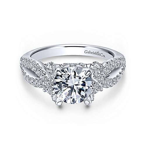 Gabriel - Zenny 18k White Gold Round Twisted Engagement Ring