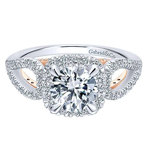 Gabriel - Zinnia 14k White And Rose Gold Round Halo Engagement Ring