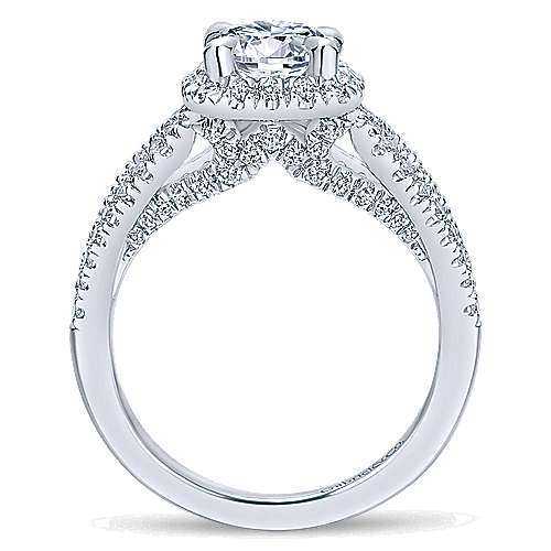 Zinnia 14k White Gold Round Halo Engagement Ring angle 2
