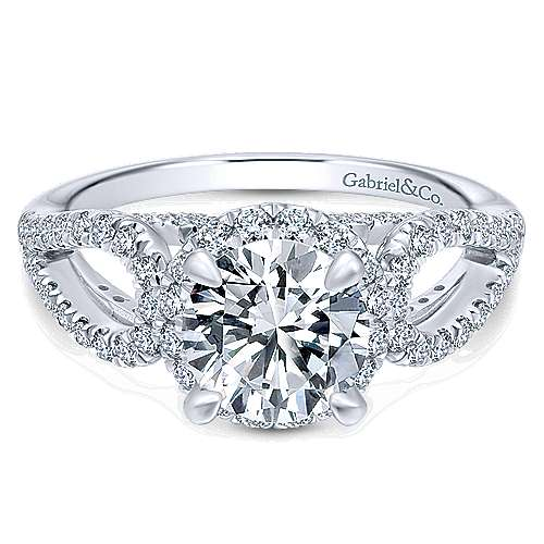 Gabriel - Zinnia 14k White Gold Round Halo Engagement Ring