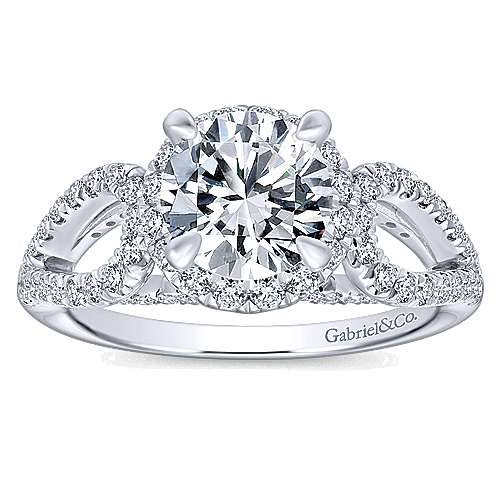 Zinnia 14k White Gold Round Halo Engagement Ring