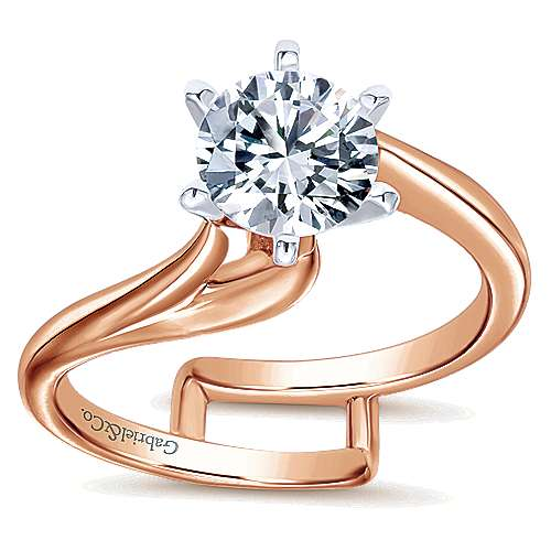 Zoey 14k White And Rose Gold Round Bypass Engagement Ring angle 5