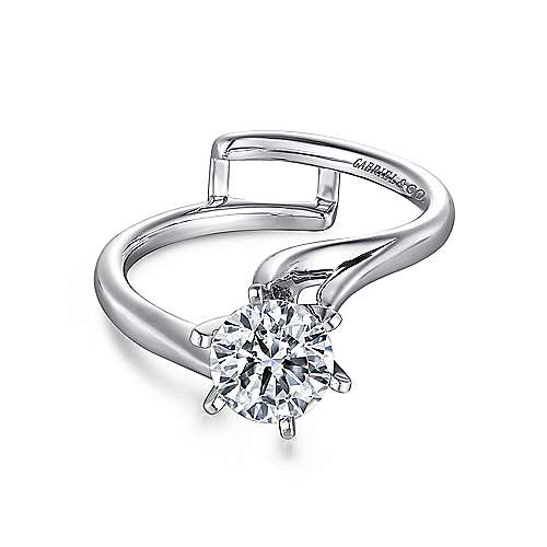 Gabriel - Zoey 14k White Gold Round Bypass Engagement Ring
