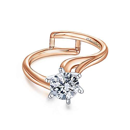 Gabriel - Zoey 14k White/pink Gold Round Bypass Engagement Ring