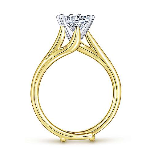 Zoey 14k Yellow/white Gold Round Bypass Engagement Ring angle 2