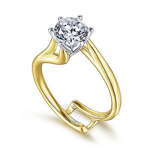 Zoey 14k Yellow/white Gold Round Bypass Engagement Ring angle 3