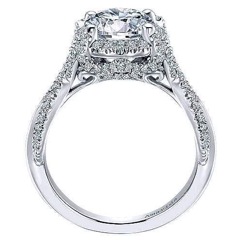 Zulila 18k White Gold Round Halo Engagement Ring angle 2