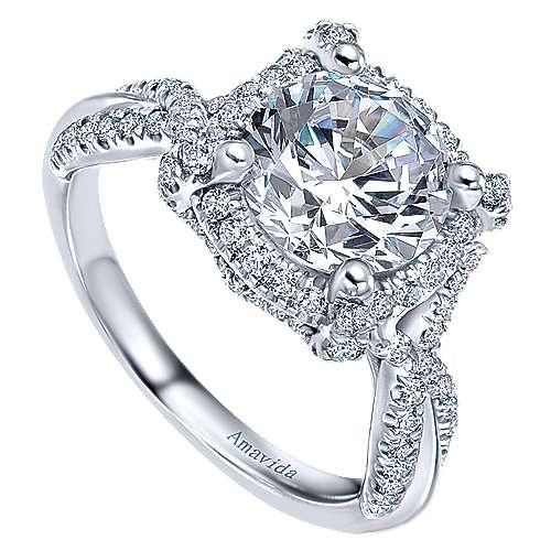 Zulila 18k White Gold Round Halo Engagement Ring angle 3
