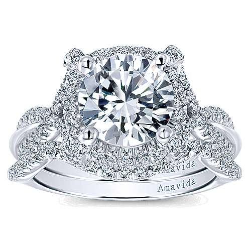 Zulila 18k White Gold Round Halo Engagement Ring angle 4