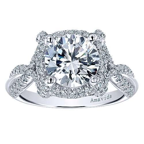 Zulila 18k White Gold Round Halo Engagement Ring angle 5