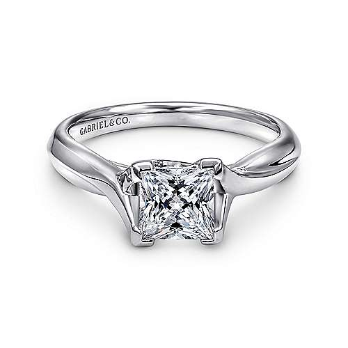 Gabriel - Zuri 14k White Gold Princess Cut Straight Engagement Ring