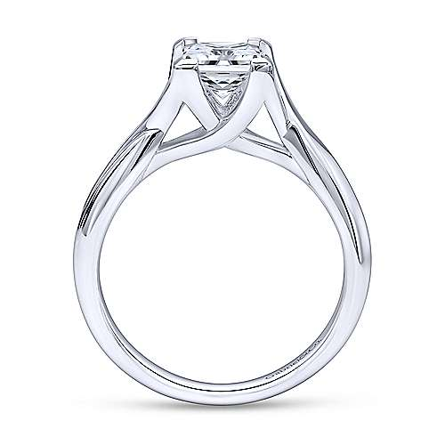 Zuri 14k White Gold Princess Cut Straight Engagement Ring angle 2