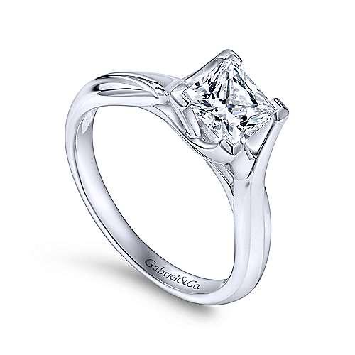 Zuri 14k White Gold Princess Cut Straight Engagement Ring angle 3