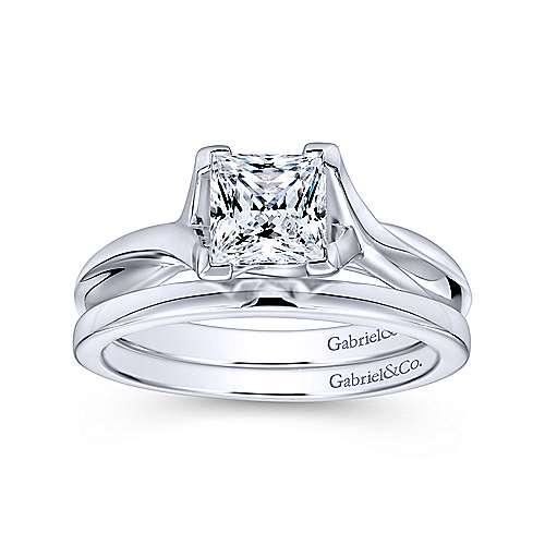 Zuri 14k White Gold Princess Cut Straight Engagement Ring angle 4
