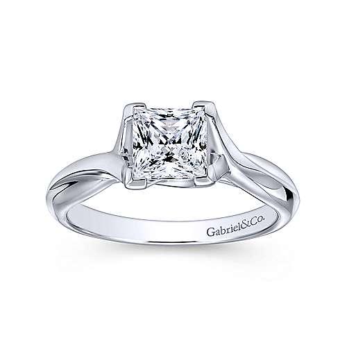 Zuri 14k White Gold Princess Cut Straight Engagement Ring angle 5
