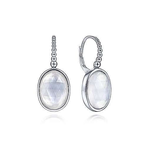 Sterling Silver Rock Crystal and White MOP Drop Earrings