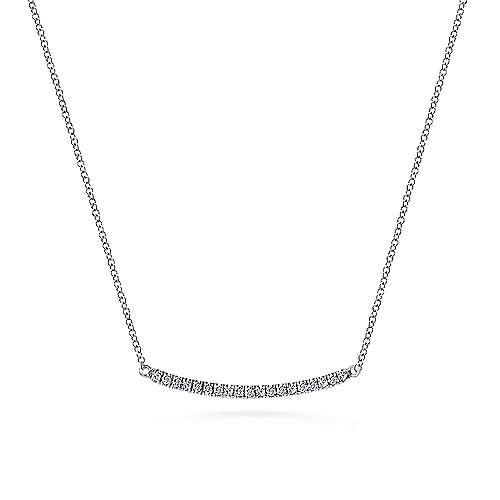 2a6e153ef 14k White Gold Curved Diamond Bar Fashion Necklace