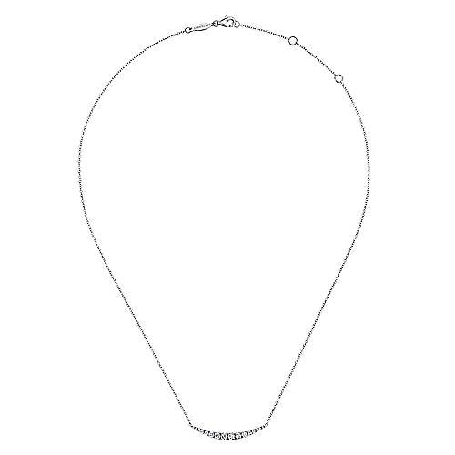 dd9198121 14k White Gold Curved Diamond Bar Necklace