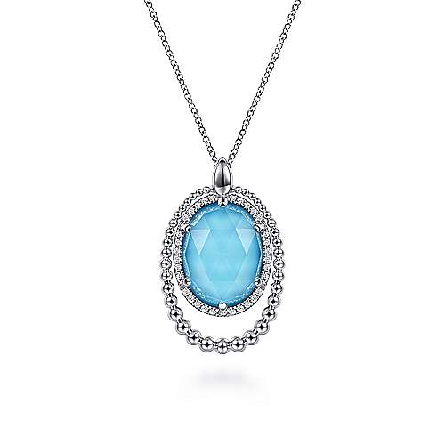 925 Sterling Silver Diamond and Rock Crystal and Turquoise or Mother Of Pearl Pendant Necklace