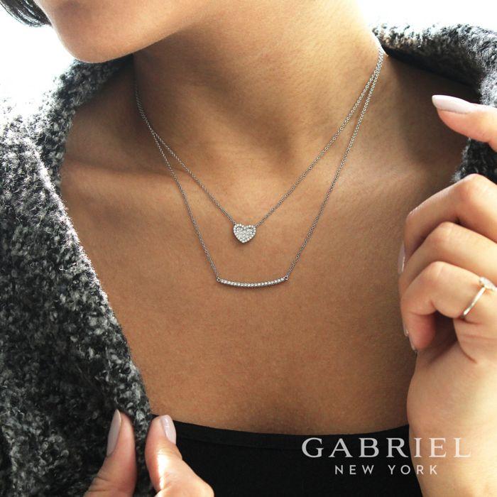 14K White Gold Diamond Pavé Curved Bar Necklace angle