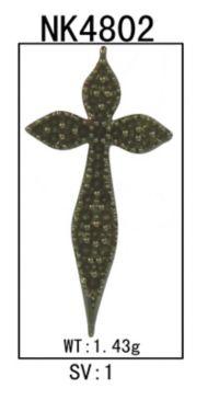 925 Sterling Silver Curving Sideways Garnet Cross Necklace angle