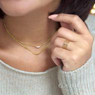 14k Yellow Gold Layered Diamond Crescent Fashion Necklace angle