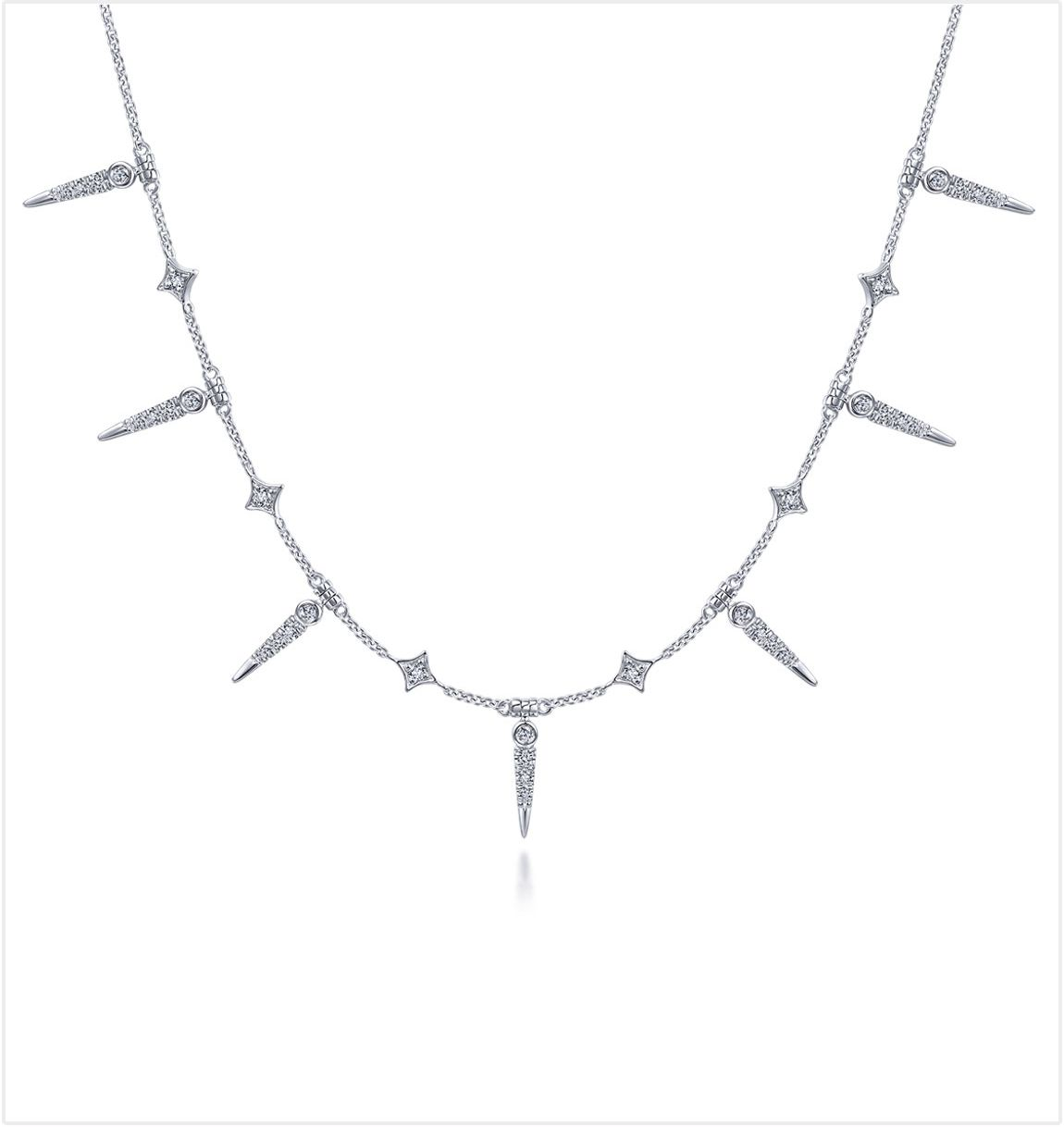 White Gold Alternating Diamond Spike Fashion Necklace