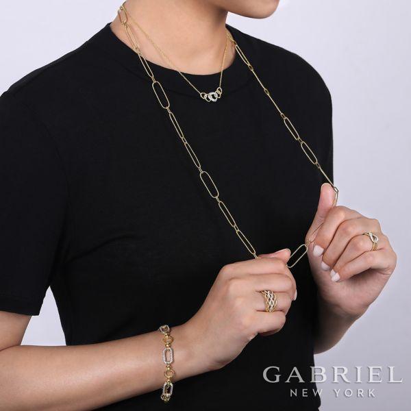 14K Yellow-White Gold Diamond Bracelet angle