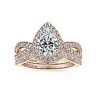 14K P.Gold Dia & Eng Ring
