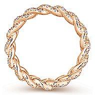 14K Rose Gold Chainlink Pavé Diamond Eternity Ring