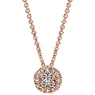 14K Rose Gold Champagne and White Diamond Fashion Necklace