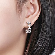 14K White Gold 15mm Round Classic Prong Set/French Pave Diamond Hoop Earrings