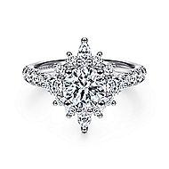 14K White Gold Halo Diamond Engagement Ring