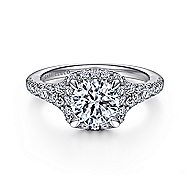 14K White Gold Halo Round Diamond Engagement Ring angle 1