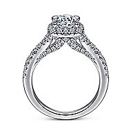 14K White Gold Halo Round Diamond Engagement Ring angle 2