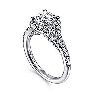 14K White Gold Halo Round Diamond Engagement Ring angle 3