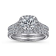 14K White Gold Halo Round Diamond Engagement Ring angle 4