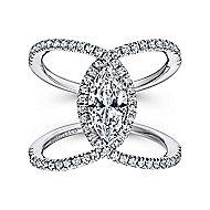 14K White Gold Marquis Halo Diamond Engagement Ring