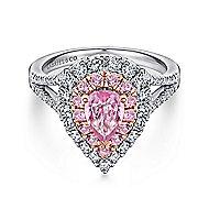 14K White-Rose Gold Diamond & Pink Sapphire Engagement Ring