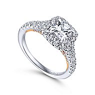 14K White-Rose Gold Diamond Eng Ring