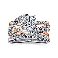 14K White-Rose Gold Diamond Engagement Ring