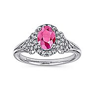 14K Wht Gold Ruby&Diamond Ring