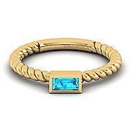 14K Yellow Gold Blue Topaz Ladies' Ring
