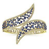 14K Yellow Gold Diamond & Sapphire Bangle