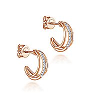 14k Rose Gold Contemporary J Curve Earrings