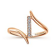14k Rose Gold Contemporary Midi Ladies' Ring angle 4