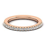 14k Rose Gold Contemporary Straight Wedding Band angle 1
