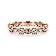 14k Rose Gold Contoured Stackable Diamond Ladies Ring