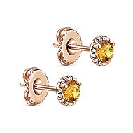 14k Rose Gold Diamond Halo Citrine Stud Earrings