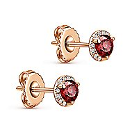 14k Rose Gold Diamond Halo Garnet Stud Earrings